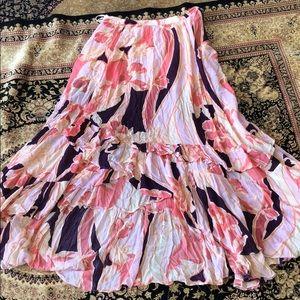 Free People Pink/Purple Ruffled Skirt (size 8)